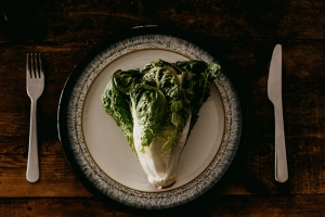 A plate with lettuce