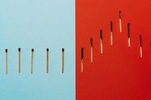 Matches on a blue and a red background