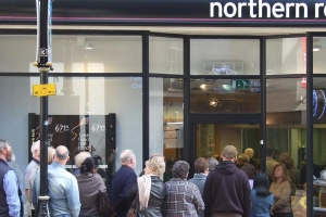 People queuing outside northern rock bank