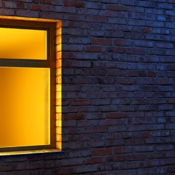 Lighted window at night